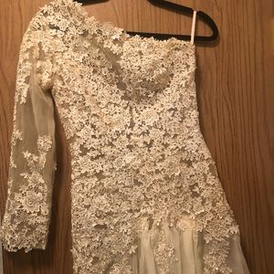Vintage Sheer Floral Appliqué Wedding Dress